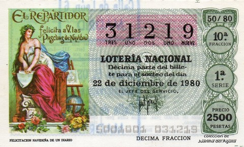 Décimo de Lotería 1980 / 50