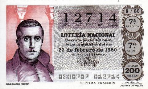 Décimo de Lotería 1980 / 8