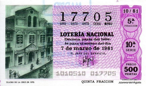 Décimo de Lotería 1981 / 10