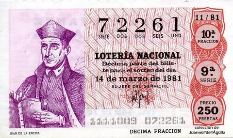 Décimo de Lotería 1981 / 11