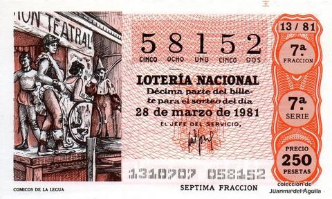 Décimo de Lotería 1981 / 13