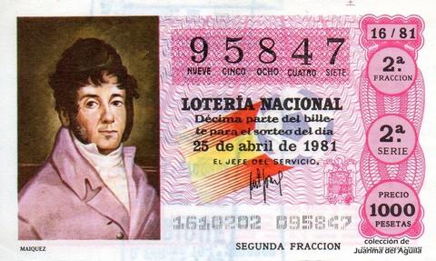 Décimo de Lotería 1981 / 16