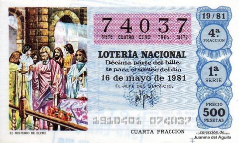 Décimo de Lotería 1981 / 19