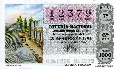 Décimo de Lotería 1981 / 2