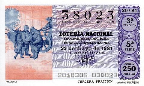 Décimo de Lotería 1981 / 20