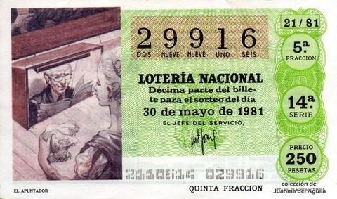 Décimo de Lotería 1981 / 21