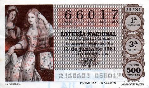 Décimo de Lotería 1981 / 23