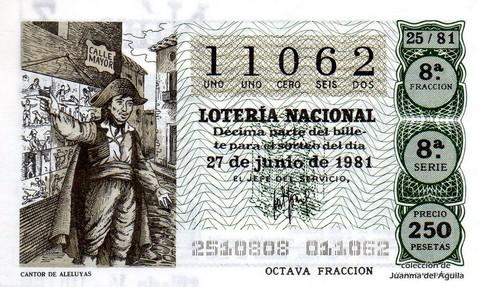 Décimo de Lotería 1981 / 25
