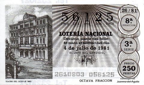 Décimo de Lotería 1981 / 26