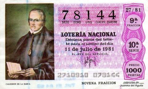 Décimo de Lotería 1981 / 27