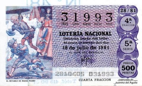 Décimo de Lotería 1981 / 28