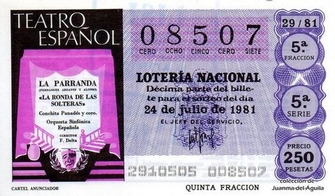 Décimo de Lotería 1981 / 29