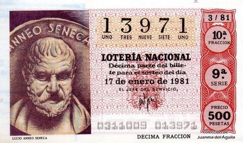 Décimo de Lotería 1981 / 3