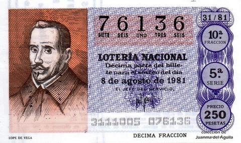 Décimo de Lotería 1981 / 31