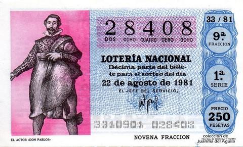 Décimo de Lotería 1981 / 33