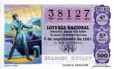 Décimo de Lotería 1981 / 35