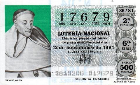 Décimo de Lotería 1981 / 36