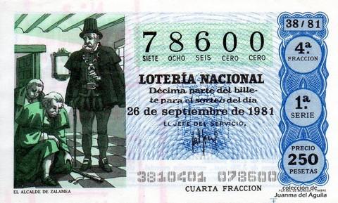Décimo de Lotería 1981 / 38