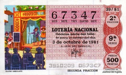 Décimo de Lotería 1981 / 39