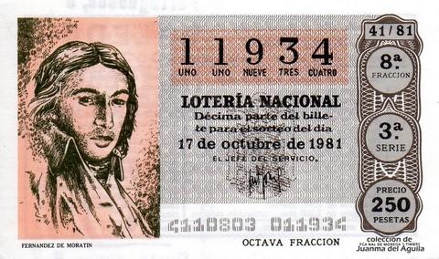 Décimo de Lotería 1981 / 41
