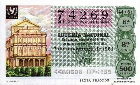Décimo de Lotería 1981 / 44