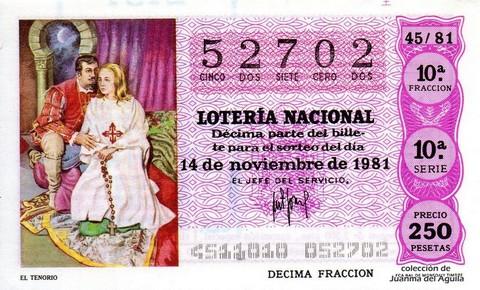 Décimo de Lotería 1981 / 45