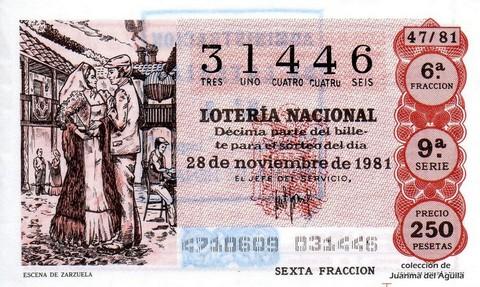 Décimo de Lotería 1981 / 47