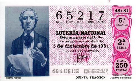 Décimo de Lotería 1981 / 48