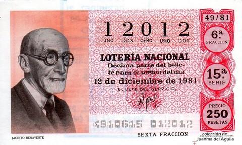 Décimo de Lotería 1981 / 49