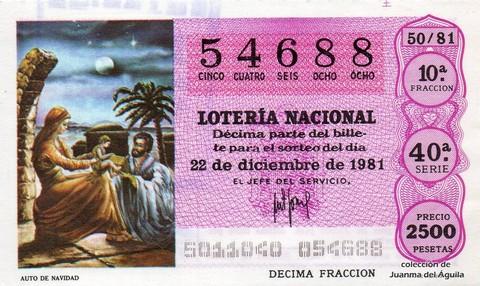 Décimo de Lotería 1981 / 50