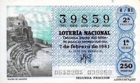 Décimo de Lotería 1981 / 6