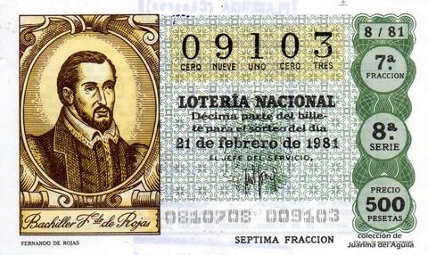 Décimo de Lotería 1981 / 8