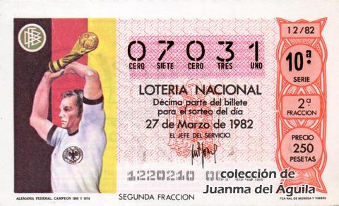 Décimo de Lotería 1982 / 12