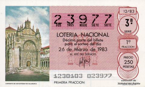 Décimo de Lotería 1983 / 12