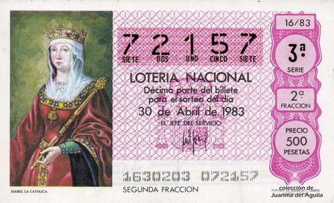 Décimo de Lotería 1983 / 16