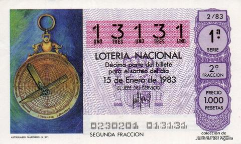 Décimo de Lotería 1983 / 2