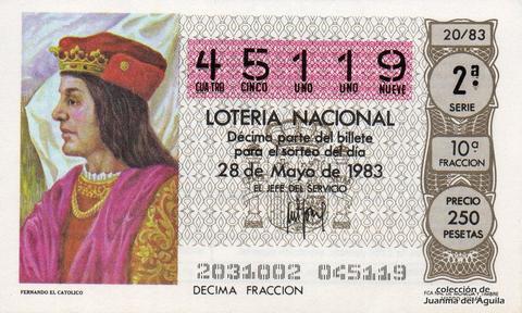 Décimo de Lotería 1983 / 20