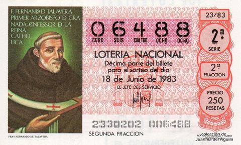 Décimo de Lotería 1983 / 23