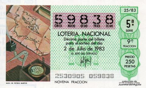 Décimo de Lotería 1983 / 25