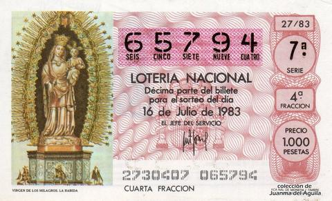 Décimo de Lotería 1983 / 27