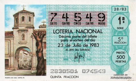 Décimo de Lotería 1983 / 28