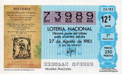 Décimo de Lotería 1983 / 33