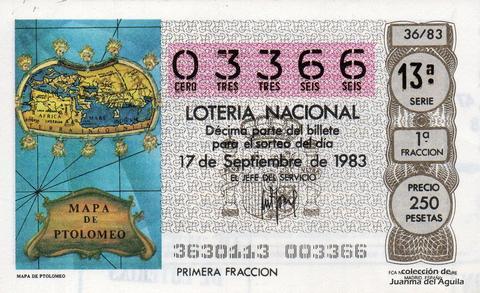 Décimo de Lotería 1983 / 36
