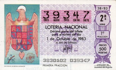 Décimo de Lotería 1983 / 38