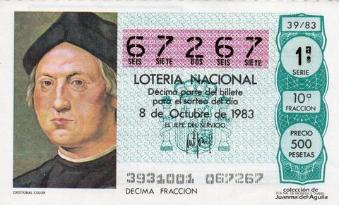 Décimo de Lotería 1983 / 39