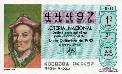 Décimo de Lotería 1983 / 48