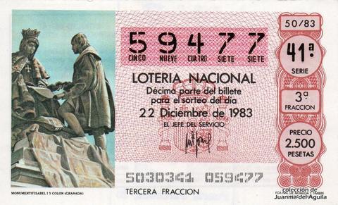 Décimo de Lotería 1983 / 50