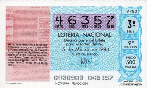Décimo de Lotería 1983 / 9