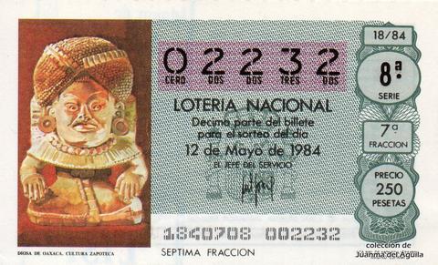 Décimo de Lotería 1984 / 18