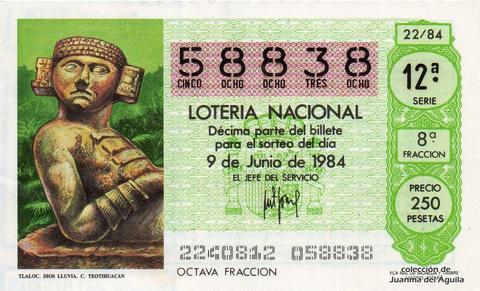 Décimo de Lotería 1984 / 22